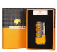 Cigar Jet Lighter 3 Torch Jet Flame Windproof W Cutter Punch Cigarette Metal