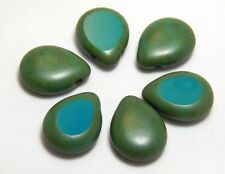 6 TurquoiseTeardrop Beads 16x12mm Drops Briolettes T-Drilled Raindrop Flat T-52A