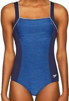 NWT Speedo Endurance+ Starry Blue Texture Square Neck One Piece Swimsuit Size 6