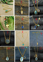 Labradorite Chalcedony Gemstone Gold Plated 925 Sterling Silver Necklace MN3578