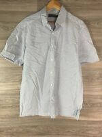 MARKS AND SPENCER M&S WHITE BLUE CHECK SHORT SLEEVE SHIRT MEN L LARGE 8436