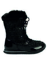 GEORGE SNOW BOOT EX STORE BLACK QUILTED NEW FAUX FUR HIGH GRIP SOLE LACES COMFY