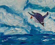 J BELOTE Original OIL Impressionism PENGUIN winter art nature painting NR