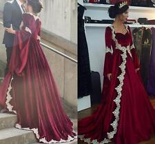 Vintage Muslim Burgundy Kaftan Formal Dress Dubai Style Evening Party Gowns