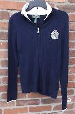 LRL Ralph Lauren Active Blue Zip Front Cardigan Sweater Crested Cable Knit L