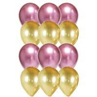 12 PC Balloon Party Kit Metallic Balloons Gold & Pink Girl Birthday, Baby Shower