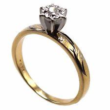 14k Gold Engagement Wedding Ring With Genuine Diamond