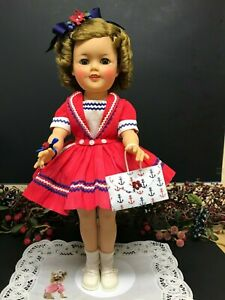 "Rare Tagged Original 17"" Ideal Shirley Temple Doll In Red, White & Blue Dress!"