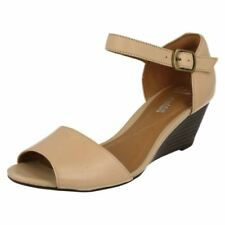 Clarks Wedge 100% Leather Peep Toe Heels for Women