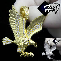 MEN 925 STERLING SILVER LAB DIAMOND ICED BLING SILVER/GOLD 3D EAGLE PENDANT*P149