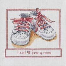 """Baby Shoes Cross Stitch Kit - Janlynn  - 14 Count - 7"""" x 7"""" Girl or Boy"""
