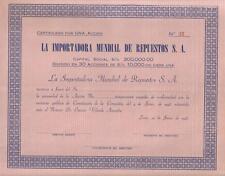 Original Peru 1946 Importadora Mundial de Repuestos Sociedad Anonima unissued
