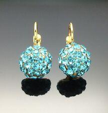 Aqua Blue Swarovski Crystal Dangle Earring Wedding 14ct Gold GF Formal Bridesmai