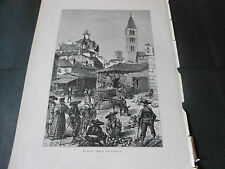 1875 BEAUTIFUL ENGRAVING MARKET PLACE VALLADOLID SPAGNA SPAIN ESPANA