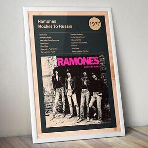 Ramones Print, Ramones Album cover and track list Art Print, Wall Art, Rock Band