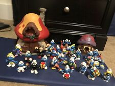 Large Vintage Smurf House And Figurine Lot