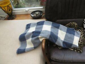 "GANT quality wool throw blanket stitch edge blue check 60/50"" quality"