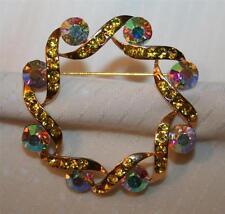Aurora Borealis Rhinestone Brooch Pin Sparkling Openwork Roped Ribbons Ambertone