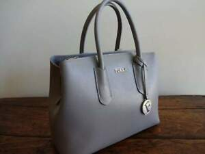 FURLA LIGHT GRAY TESSA Saffiano LEATHER E/W SATCHEL Italian TOTE