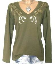 SHEEGO Damen Shirt GR. 48 50 oliv gold Langarm NEU - 103