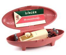 Singer Slant Buttonholer Vtg 1960 Model 489500 Metal Templates Pink Case Manual