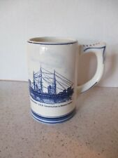MUG, DELFTS BLUE, HANDPAINTED, OLD IRONSIDES USS CONSTITUTION IN BOSTON HARBOR