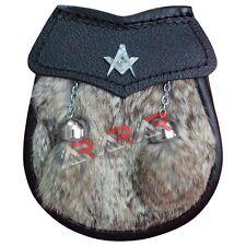 """Boys Sporran Masonic Brown Fur Free Leather Belt & Chain 28"""" long 2 Tassels AAR"""