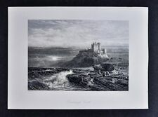 1878 Picturesque Print - Bamborough or Bamburgh Castle Northumberland England