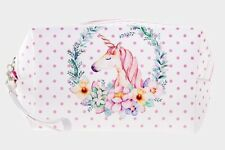 PEACH PETALS UNICORN AND FLOWERS PINK POLKA DOT MAKE UP TRAVEL BAG POUCH