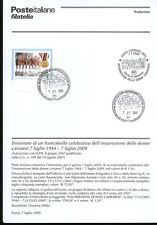 ITALIA 2009 DONNE CARRARESI  BOLLETTINO COMPLETO DI FRANCOBOLLI ANNULLO FDC
