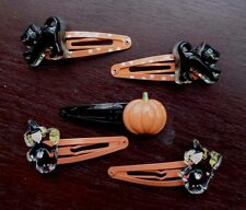 Girls GYMBOREE Halloween Lot of 5 Hair Clips Witches Black Cats Pumpkin