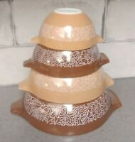 4 pc Pyrex Woodland Vintage Mixing Nesting Bowls Brown/Caramel EXELLENT