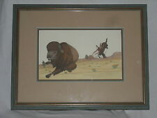 Vintage 1949 Indian buffalo hunting accident painting from New Mexico