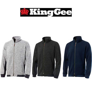 Mens KingGee Full Zip Knit Jumper Stylish Warm Winter K69805 Extra Tough Work