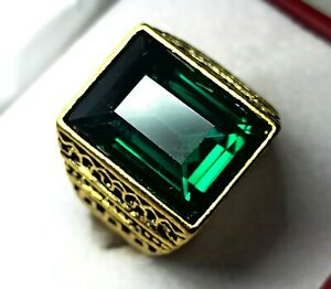 Sterling Silver 58.20 Cts Charming Green Emerald Men's Ring Size 11 US R-22