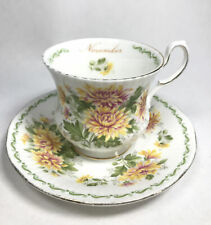 More details for crownford queen's china november cup and saucer chrysanthemum fine bone china