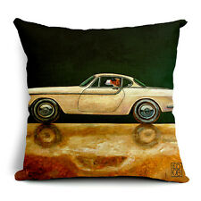 BN fashion dogs driving car LYC vintage Ford Mustang cushion cover LINEN COTTON