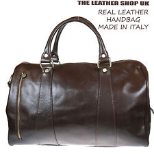 Brown Soft Real Leather High Quality Luggage Travel Handbag Made In Italy