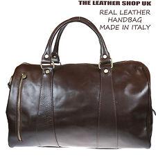 Marron Cuir V_ritable Souple Baggage Sac ? Main De Voyage Fabriqu_ En Italie