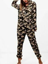 BOOHOO Nancy Green Camouflage Fleece One Piece Size Small S  (WB61)