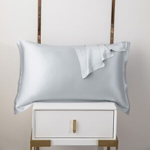 100% Pure Mulberry Silk On Both Sides 19 Momme Charmeuse Pillow Case Silver Grey