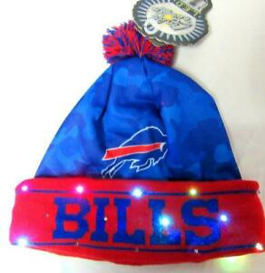Buffalo Bills Mens Size OSFM Light Up Cuff Beanie Skully Cap Hat w/ Pom E1 1162