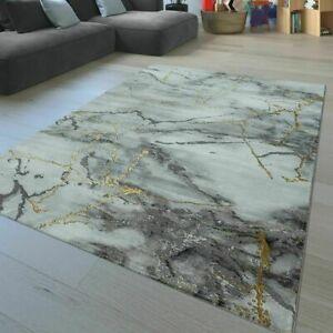 Modern Rug Living Room Carpet Soft 3D Effect Novelty Small Large Mats Grey Gold
