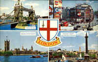 England LONDON ~1960/70 Multi-View Tower Bridge Piccadilly Circus Parliament usw