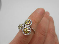 Gorgeous 14K Solid White Gold Canary Yellow & White Diamond Halo Ring Size 5