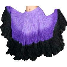 "Lilac Purple Black Tribal gypsy 25 yards belly dance dancing cotton skirt 36"""