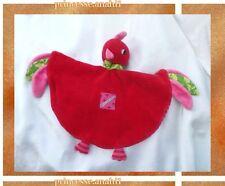 Doudou Peluche Plat Coq Poule Oiseau Rouge Rose Foulard Vert Jaune On Chuchote