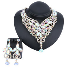 Bridal AB Austrian Crystal Necklace Earrings Jewelry Set Fit with Wedding Dress