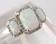 Fine 14K White Gold Natural Diamond & Simulated Opal Ring Sz:6 Ret:$719 NWT