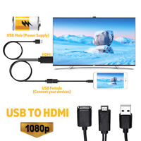 USB Female to HDMI Male 1080P HDTV Adapter Cable For iPhone 7/8 Andriod iPad